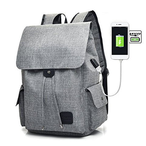 Samber Usb Rechargeable Canvas Backpack Girls School Bag Outdoor Rucksack Oxford Cloth Daypack With Usb Charging Port Travel Backpack Bag Laptop Bag For Girls Women (Gray)
