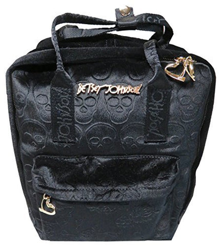 Betsey Johnson Women's Velvet Solid Backpack, Skulls, Black