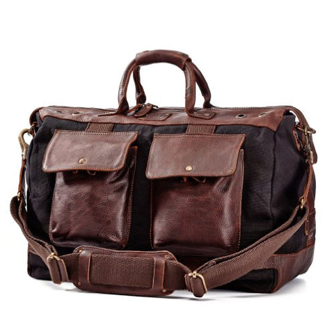 Will Leather Goods Men's Traveler Duffel Bag - Brown/Black