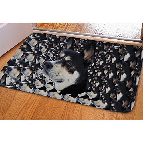 Funny Husky Dogs Printed Doormat Non-slip Kitchen Carpet Door Mats doginthehole