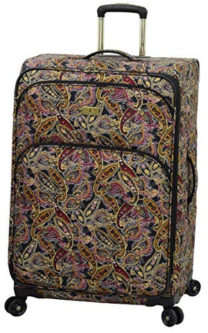 "London Fog Cranford 29"" Expandable Spinner, Black Gold Plum Paisley"