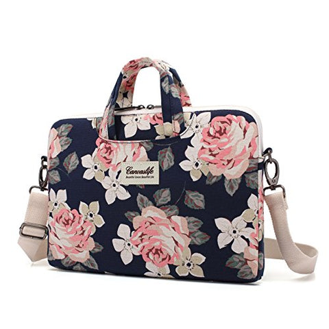 Canvaslife White Rose Patten Canvas Laptop Shoulder Messenger Bag Case Sleeve for 14 Inch 15 Inch Laptop Macbook Pro 15 Case Laptop Briefcase 15.6 Inch