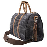 Tmount Unique Vintage Canvas Leather Duffel Bag Travel Tote Bag Overnight Bag, Lightweight Carry On