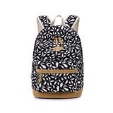 S Kaiko Feather Pattern Canvas Backpack School Bakcpack for Women and Men School Bag Daypack Teenager Rucksack Traveling Backpack for Hiking Clambing (black)