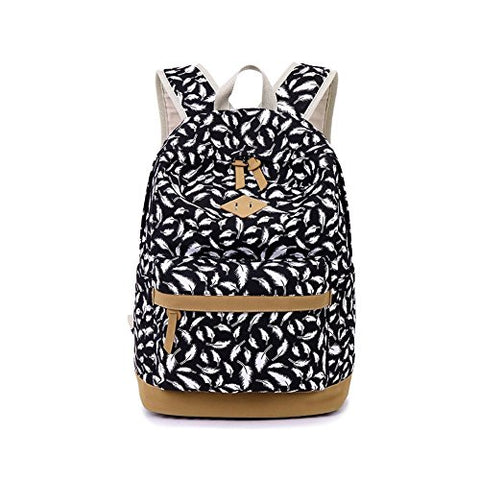 S Kaiko Feather Pattern Canvas Backpack School Bakcpack For Women And Men School Bag Daypack