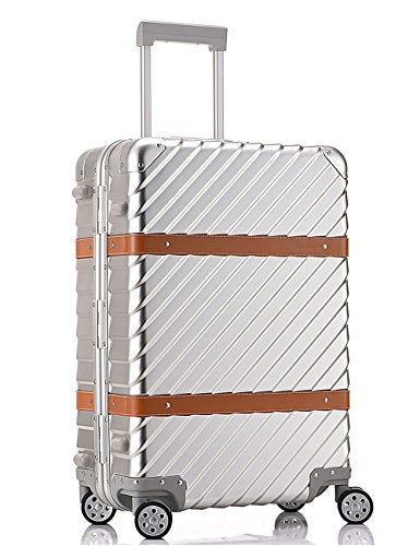 All Al-Mg Alloy HardShell Carry-on/Cabin Luggage TSA Approved Silver 24""