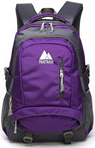 Proetrade Durable Water Resistant Travel Outdoor College School Backpack Daypack (Purple)