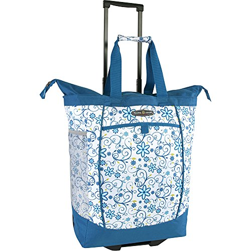 Pacific Coast Signature Large Rolling Shopper Tote Bag, Blue Daisy