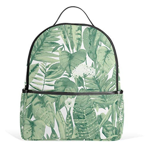 Watercolor Green Leaf Backpack School Travel Bag Daypack for Women Girls Boys