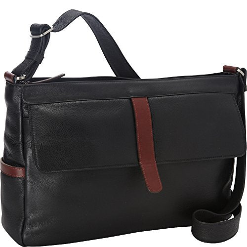 Derek Alexander East/West Twin Top Zip External Frnt Flap Pkt, Black/Brandy