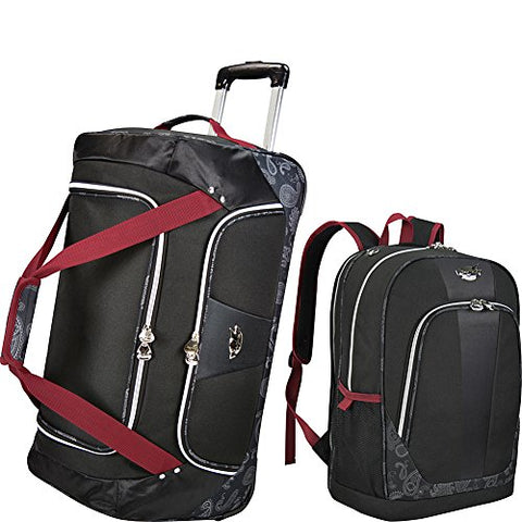 Bret Michaels Luggage Classic Road 2 Piece Rolling Duffel And Laptop Backpack