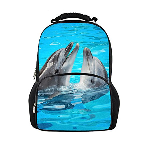 Bigcardesigns Children Teens Backpack Dolphin Schoolbag