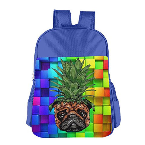 Gibberkids Child'S Pineapple Pug Dog Colorful School Bag Bookbag Boys/Girls For 4-15 Years Old