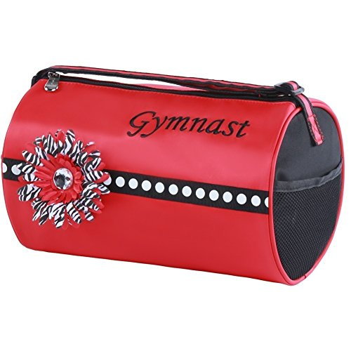 "Sassi Designs Girls Red ""Gymnast"" Flower Fully Lined Scarlet Small Roll Duffel"