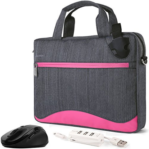 Vangoddy Wave Slim Magenta Anti Theft Messenger Bag For Dell Alienware / Chromebook / Latitude /