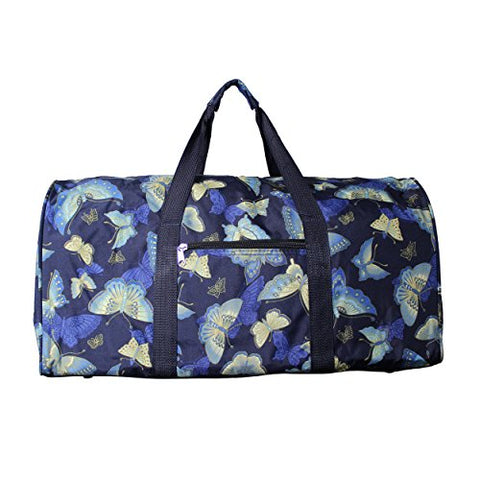 World Traveler Women'S Value Series Blue Moon 22-Inch Gold Butterfly Duffel Bag, Navy Trim Gold Butterfly, One Size