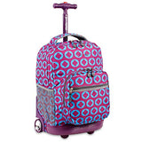 J World New York Sunrise 18-inch Rolling Backpack - Logo Purple Two-Tone Polyester Checkpoint-Friendly Adjustable Strap Lined Water Resistant
