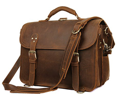 "Polare Leather Messenger Bag Casual Designer Travel Briefcase Fits 16.5"" Laptop"