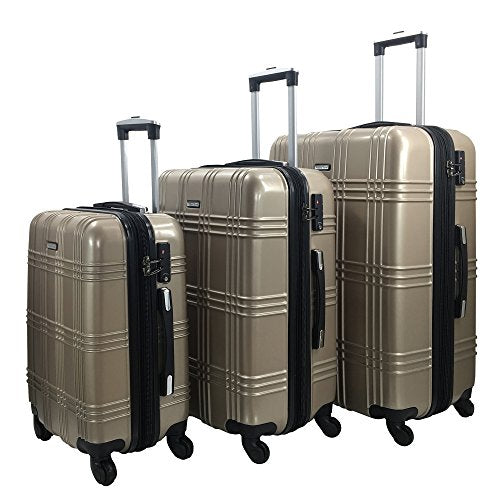 3 Pc Luggage Set Durable Lightweight Spinner Suitecase-Lug3-Gl8109-Champagne