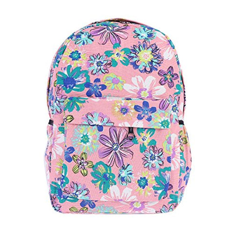 Damara Womens Vintage Flower Printed Simple Classic School Bag,Pink