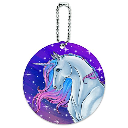 Majestic Unicorn Pink Purple Blue Round Luggage Id Tag Card Suitcase Carry-On