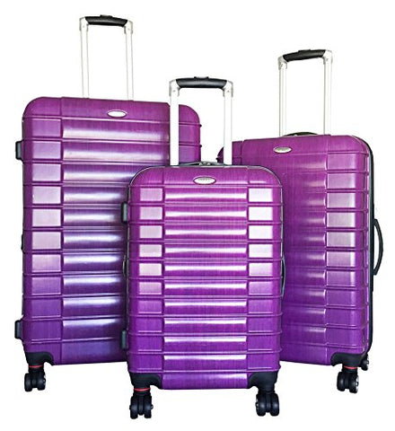 3 Pc Luggage Set Suitcase Hardside Rolling 4 Wheel Spinner Upright Carryon Travel Purple