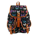 BIBITIME European Style Butterfly Printed Canvas Backpack Multi-pocket School Bag Black,12.99 x 15.35 x 5.91 inches