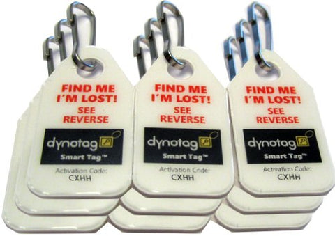 Dynotag Web/Gps Enabled Qr Code Smart Micro Zipper Tags: 9 (3X3Strip)+Snaphooks