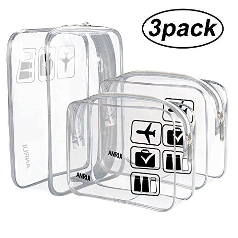 (3 Pack) Anrui Tsa Approved Clear Toiletry Bag Travel Carry On Airport Airline Compliant Bag