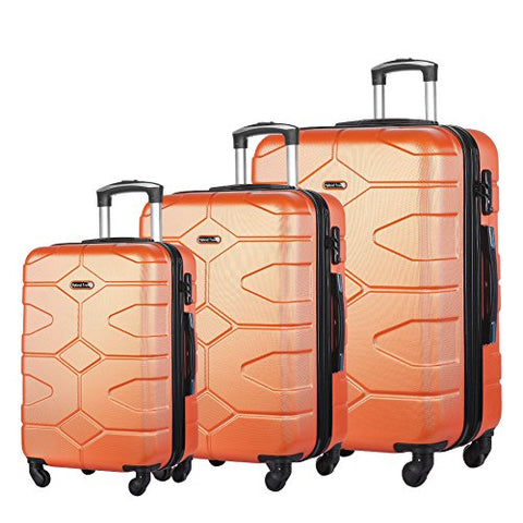 3 Piece Luggage Set Durable Lightweight Hard Case Spinner Suitecase Lug3 Ly09 Orange