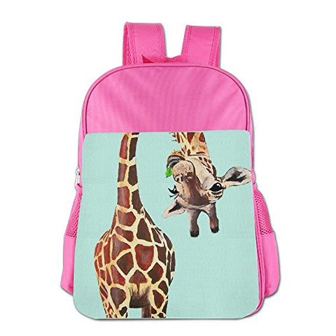 Gibberkids Children Giraffe Funny School Bags Bookbag Boys/Girls For 4-15 Years Old Pink