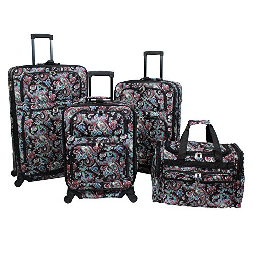 World Traveler 4-Piece Rolling Expandable Spinner Luggage Set, Paisley