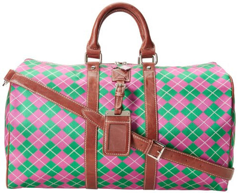 Sydney Love Argyle Small Duffel Carry On,Pink/Green,One Size