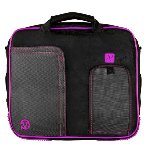 PINDAR Messenger Shoulder Carrying Bag Durable Case (Purple Trim) For The RCA DRC6331 10-Inch LCD