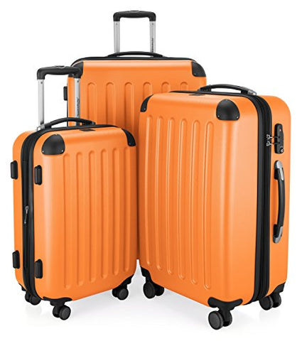 HAUPTSTADTKOFFER Luggages Sets Glossy Suitcase Sets Hardside Spinner Trolley Expandable (20', 24' & 28') TSA (Spree Orange2)
