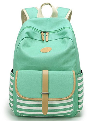 Leaper Cute Thickened Canvas School Backpack Laptop Bag Shoulder Daypack Handbag (L,Water Blue)