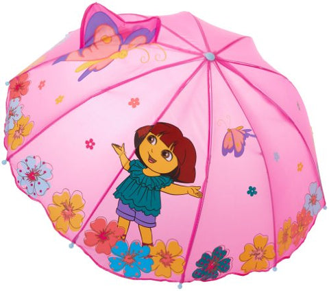 Kidorable Purple Dora the Explorer Umbrella for Girls w/Fun Flower Handle, Pop-Up Butterfly, 1 Size