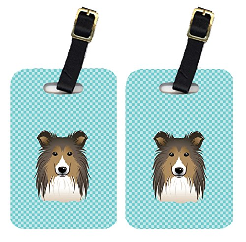 Caroline's Treasures BB1180BT Pair of Checkerboard Blue Sheltie Luggage Tags , Large, multicolor