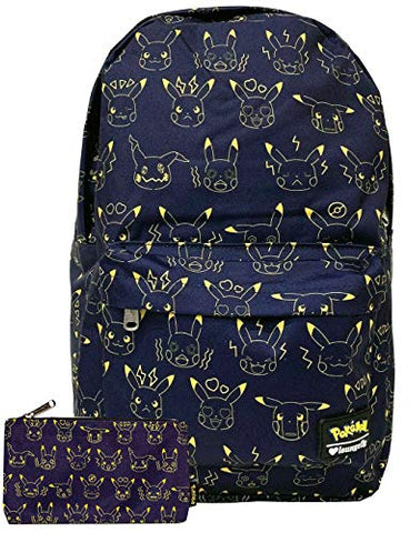Loungefly Pikachu Expressions Nylon Regular Backpack and Pouch Set
