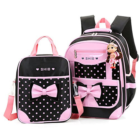 Efree 2 pcs Girl's Polka Dot Cute Bow Princess Pink School Backpack Girls Book Bag (Black)