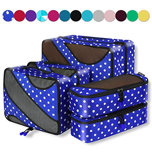 6 Set Packing Cubes,3 Various Sizes Travel Luggage Packing Organizers (Dot)