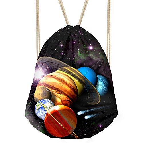 Bigcardesigns Drawstring Backpack Gym Bag lightweight Sackpack Space Print