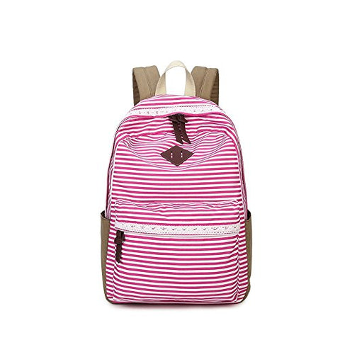 S Kaiko Canvas Backpack School Bakcpack For Women And Men School Bag Stripe Sweet Lace Daypack