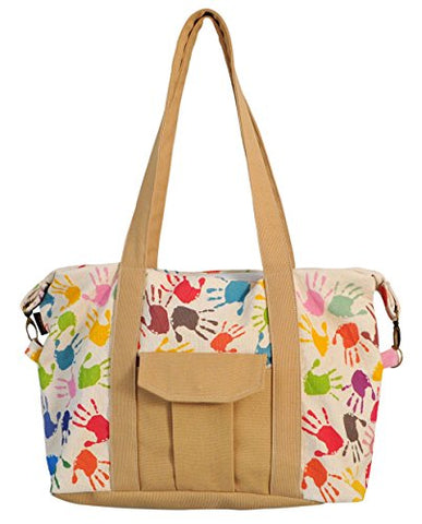 Colorful Handprints Print Picnic, Shopping Multi-Purpose Canvas Zipper Bag