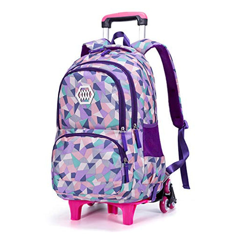 Xhhwzb Girl'S Wheeled Backpack Trolley School Bag Travel Rolling Backpacks (Color : B)