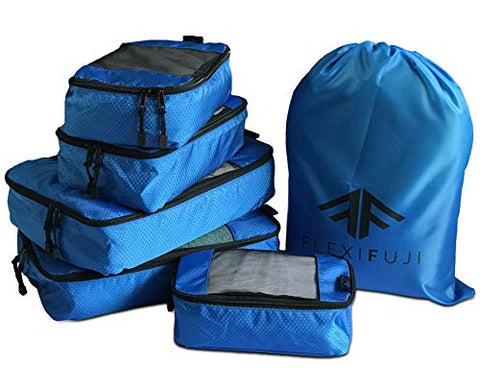 Flexi Fuji 5 set Packing Cubes - Travel Luggage Packing Organizers Honeycomb Mesh with Laundry Bag