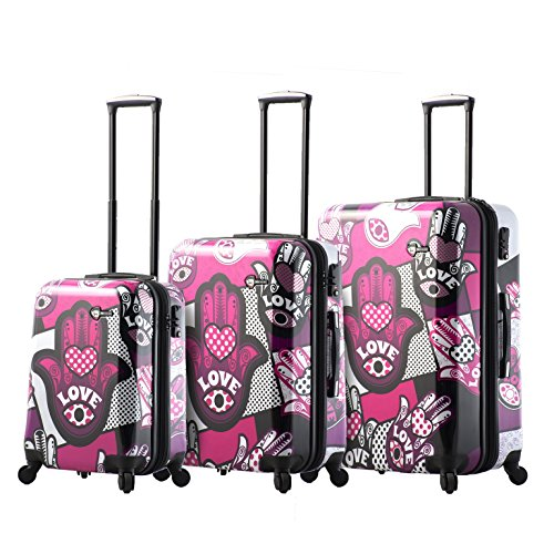 Mia Toro Italy Hamsa Love Monochrome Hard Side Spinner Luggage 3pc Set, Pink
