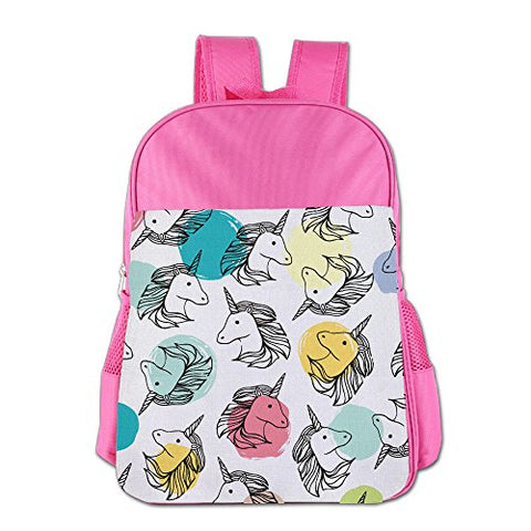 Gibberkids Child's Unicorn Horse Cartoon Colorful School Bags Bookbag Boys/Girls For 4-15 Years Old