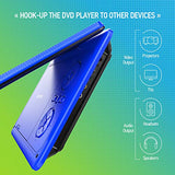 "Portable DVD Player 11.5"" with 5 Hours Rechargeable Battery by SPACEKEY, 9"" Swivel Screen, Support USB/SD Slot and 1.8M Car Charger, Support Memory and Region Free (Blue)"