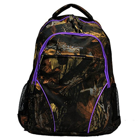 """E-Z Tote"" Real Tree Print Hunting Backpack in 5 Colors (Purple Trim)"